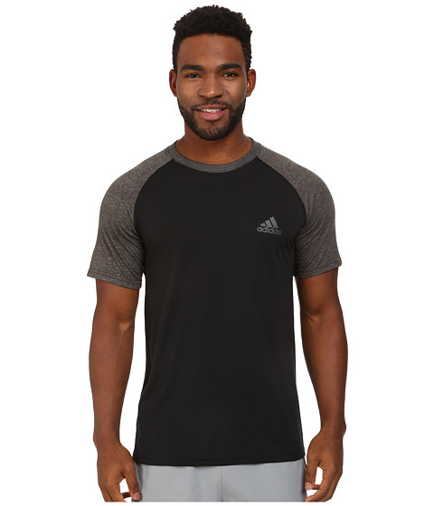 adidas - Ultimate Short Sleeve Crew Tee - Color Block (Black/Dark Grey Heather) Men