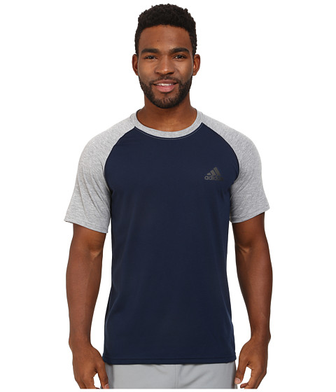 adidas - Ultimate Short Sleeve Crew Tee - Color Block (Collegiate Navy/Medium Grey Heather) Men