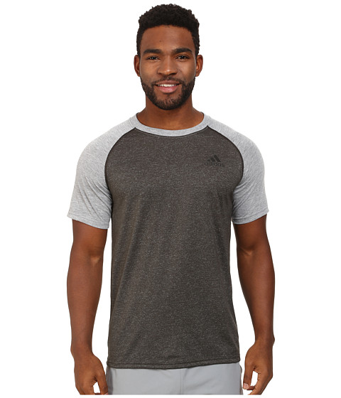 adidas - Ultimate Short Sleeve Crew Tee - Color Block (Dark Grey Heather/Medium Grey Heather) Men
