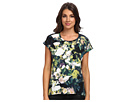 Adrianna Papell S/S Tee w/ Printed Front Contrast (Black Multi)