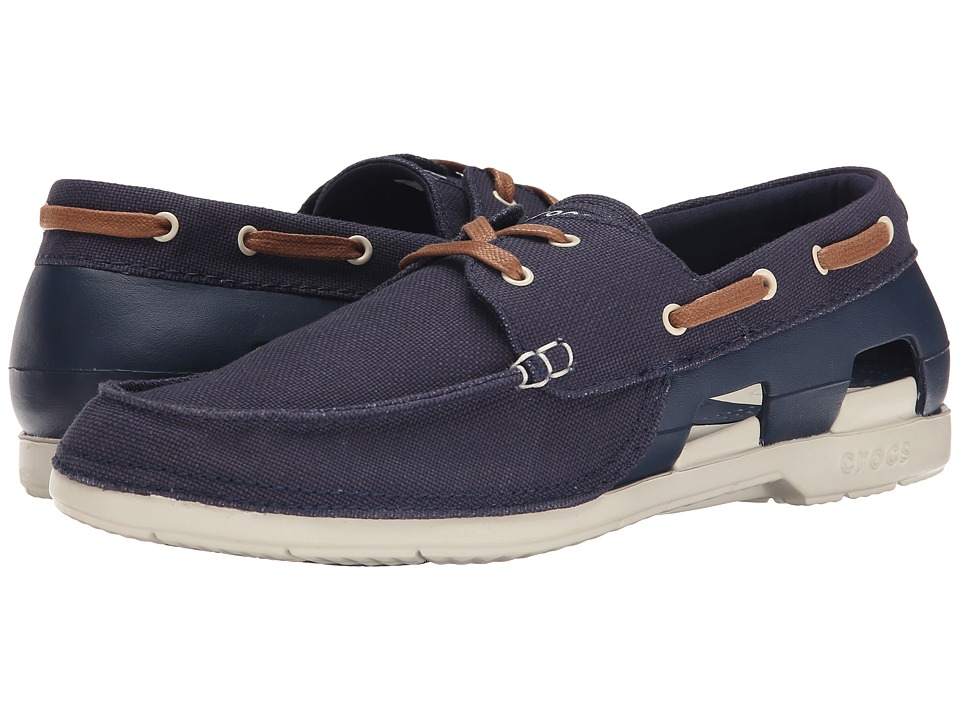 Crocs - Beach Line Lace-Up Boat (Navy/Stucco) Men's Lace up casual Shoes