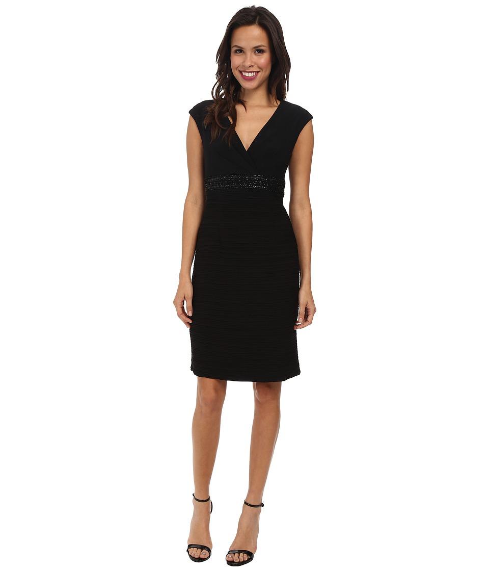 Jessica Howard - Cap Sleeve Surplus Bodice Beaded Empire Waist Sheath Dress (Black) Women