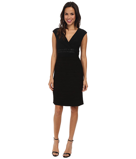 Jessica Howard - Cap Sleeve Surplus Bodice Beaded Empire Waist Sheath Dress (Black) Women