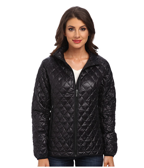 Rainforest - Zip Front ThermoLuxe Quilt Jacket (Black) Women's Coat