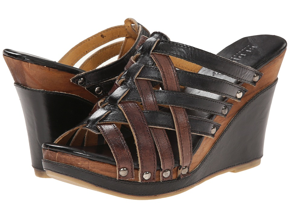 Bed Stu - Gina (Black Rustic/Teak Rustic) Women's Slip on Shoes
