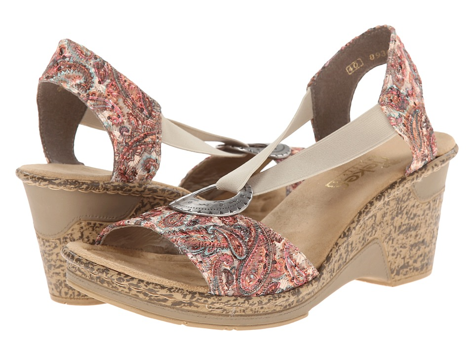 Rieker - 60682 Roberta 82 (Terra/Beige) Women's Wedge Shoes