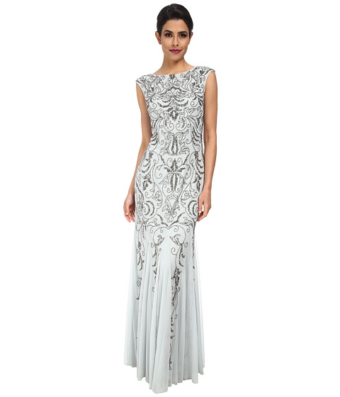 Adrianna Papell - Cap Sleeve Beaded Gown (Icy Mint) Women's Dress