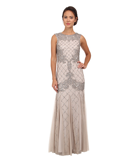 Adrianna Papell - Sleeveless Fully Beaded Gown (Silver) Women's Dress