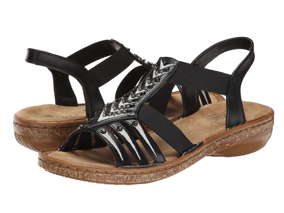 Rieker - 62861 Regina 61 (Black) Women's Sandals