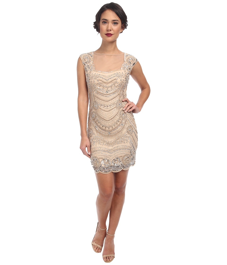 Adrianna Papell - Short Beaded Dress with Illusion (Champagne) Women's Dress