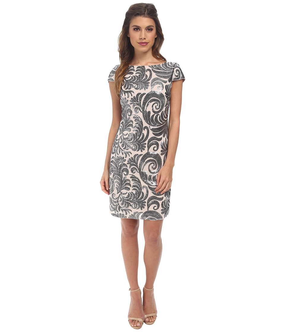 Adrianna Papell - Cap Sleeve Sequin Chiffon Dress (Blush Gunmetal) Women's Dress
