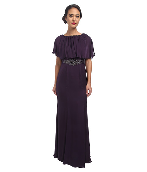 Adrianna Papell - Beaded Waist Capelet Gown (Aubergine) Women's Dress