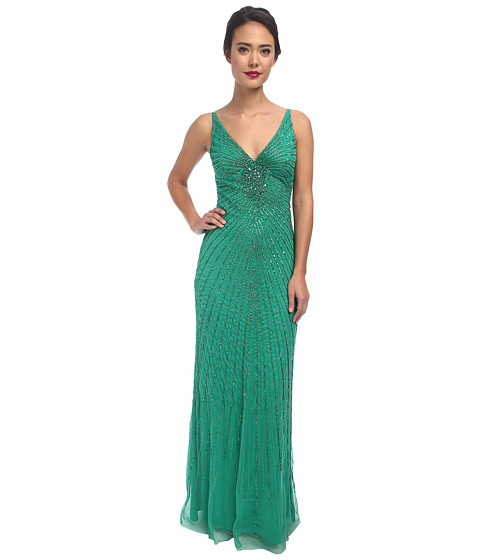 Adrianna Papell - Sleeveless Fully Beaded Gown (Mojito) Women's Dress