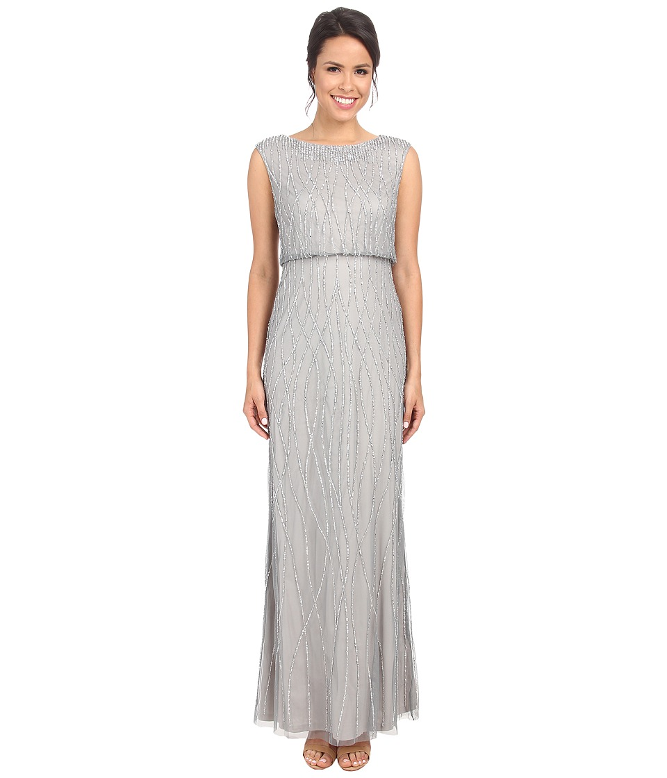 Adrianna Papell - Deco Vine Beaded Gown (Slate) Women's Dress