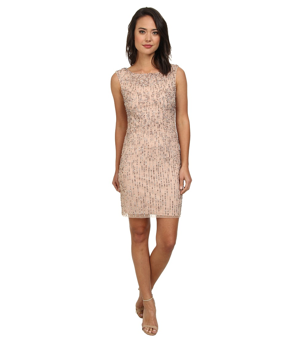 Adrianna Papell - Sleeveless Fully Beaded Cocktail Dress (Blush) Women's Dress