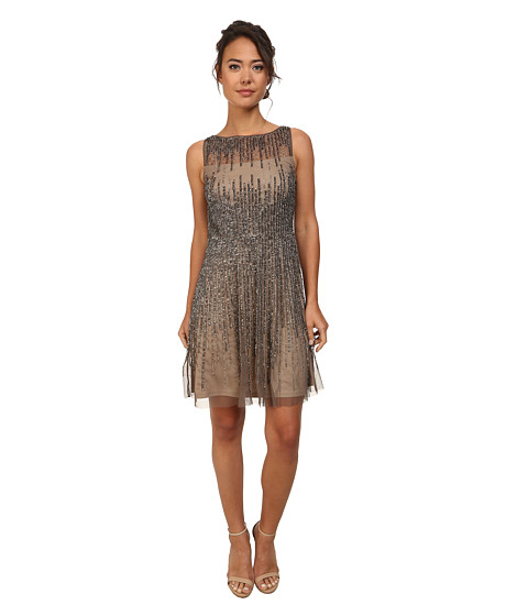 Adrianna Papell - Short Sleeveless Beaded Party Dress (Lead) Women's Dress