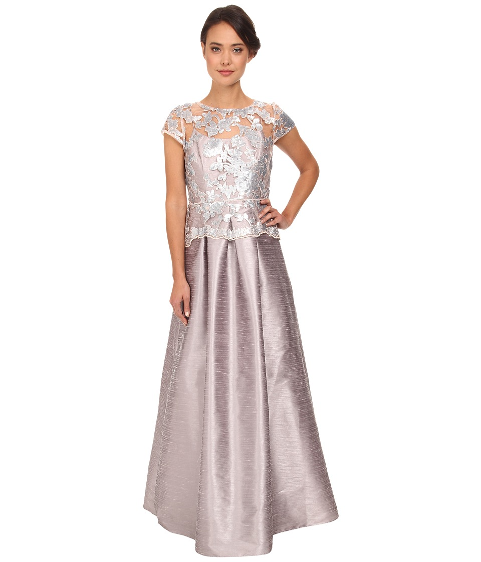 Adrianna Papell - Cap Sleeve Sequin Ilusion Lace Duponi Gown (Pearl Grey) Women's Dress