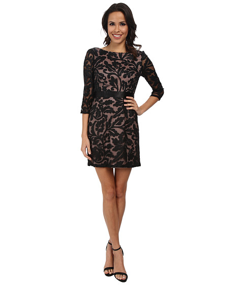 Adrianna Papell - 3/4 Sleeve Embroidered Lace Cocktail Dress (Black Nude) Women's Dress