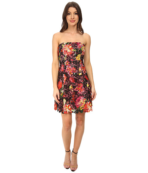 Adrianna Papell - Strapless Floral Print Lace Dress (Black Multi) Women