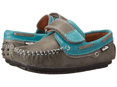 Venettini Kids - 55-Storm (Toddler/Little Kid/Big Kid) (Gray Crinkled Leather/Celeste Shine Leather) Boys Shoes
