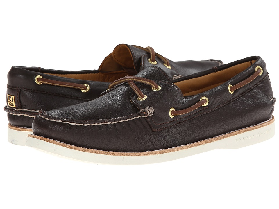 Sperry Gold A/O 2-Eye Leather (Dark Brown) Women