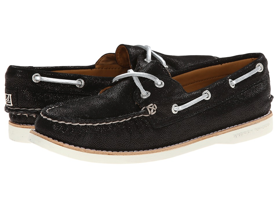Sperry Top-Sider - Gold A/O 2-Eye Leather (Black) Women's Lace up casual Shoes