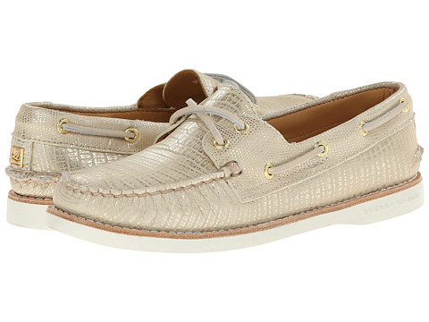 Sperry Top-Sider - Gold A/O 2-Eye Python (Platinum) Women's Lace up casual Shoes