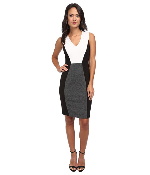 Donna Morgan - Crepe Ponte S/S V-Neck w/ Side Panels Dress (Black/White) Women