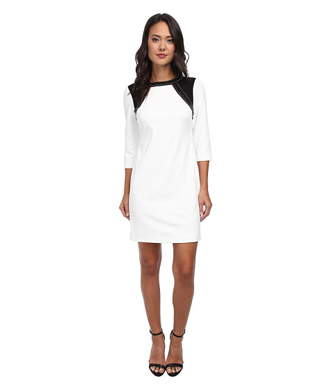 Donna Morgan - Three-Quarter Sleeve Crepe Shift (Black/Ivory) Women