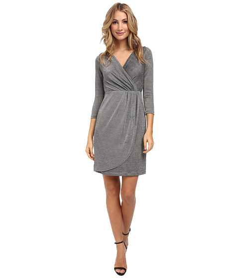 Donna Morgan - Three-Quarter Sleeve Metallic Wrap Dress (Silver) Women's Dress