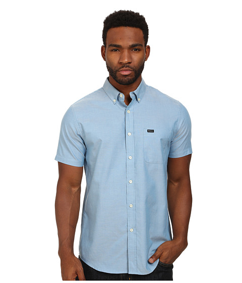 RVCA - That'll Do Oxford S/S (Acid Wash Blue) Men's Short Sleeve Button Up
