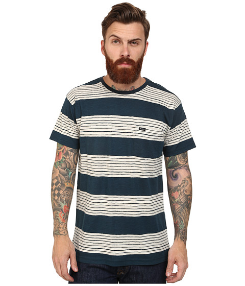 RVCA - Horai Stripe Knit Crew (Indigo) Men's Short Sleeve Pullover