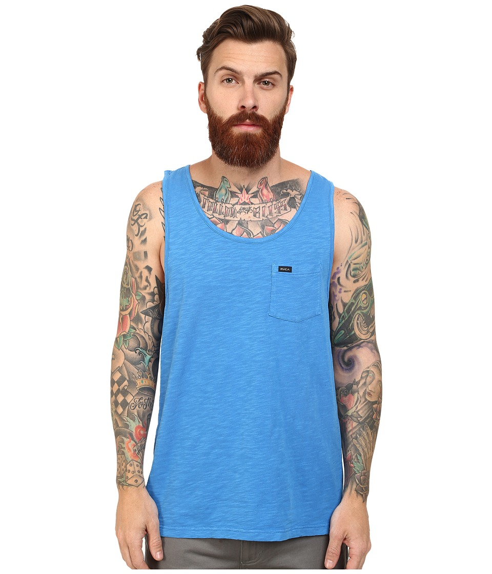 RVCA - Ditch Dog Tank (Acid Wash Blue) Men's Sleeveless
