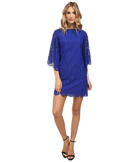 Donna Morgan - Lace Shift w/ Bell Sleeves (Blue Sapphire) Women's Dress
