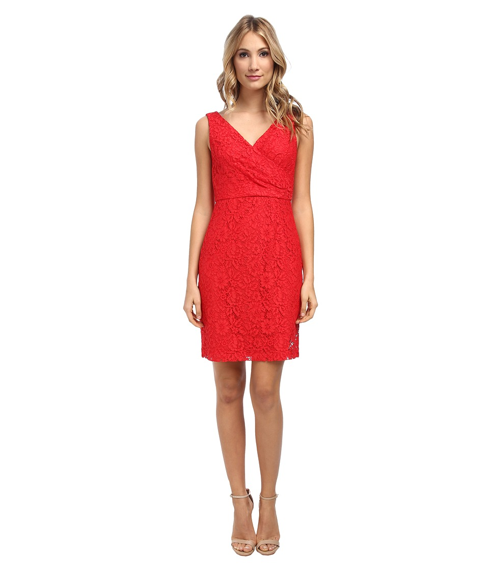 Donna Morgan - V-Neck Sleeveless Sheath w/ Suplice Bodice (Vermillion) Women's Dress