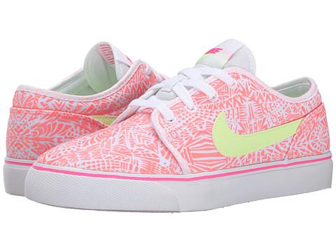 Nike SB Kids - Toki Low Canvas Print (Big Kid) (White/Pink Pow/Lava Glow/Liquid Lime) Girls Shoes