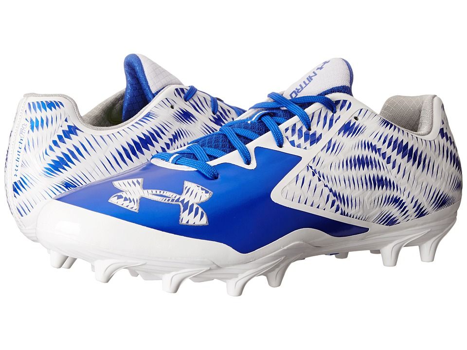 Under Armour - UA Nitro Low MC (White/Team Royal) Men's Cleated Shoes