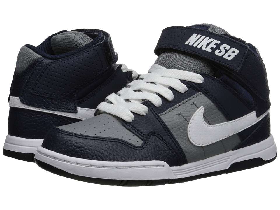 Nike SB Kids - Mogan Mid 2 Jr (Little Kid/Big Kid) (Cool Grey/White/Obsidian) Boys Shoes