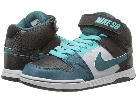 Nike SB Kids - Mogan Mid 2 Jr (Little Kid/Big Kid) (Black/Teal/Light Retro/Wolf Grey) Kids Shoes