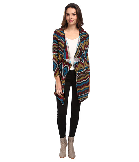 Brigitte Bailey - Myra Print Cardigan (Teal) Women's Sweater