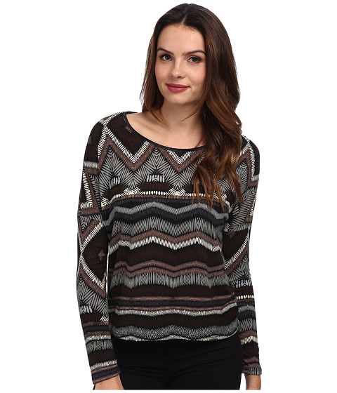 Brigitte Bailey - Long Sleeve Print Sweater (Grey) Women