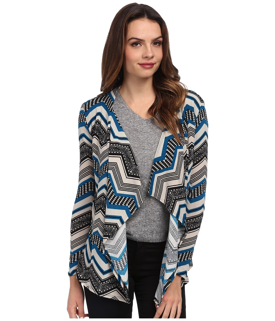 Brigitte Bailey - Breana Chevron Print Cardigan (Teal) Women's Sweater