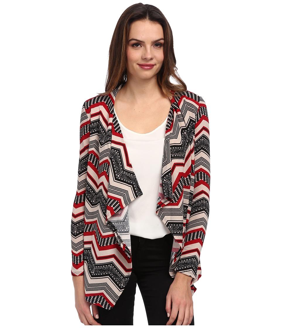 Brigitte Bailey - Breana Chevron Print Cardigan (Red) Women's Sweater