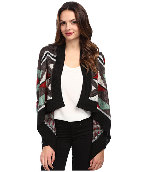 Brigitte Bailey - Printed Long Sleeve Cardigan (Black) Women's Sweater