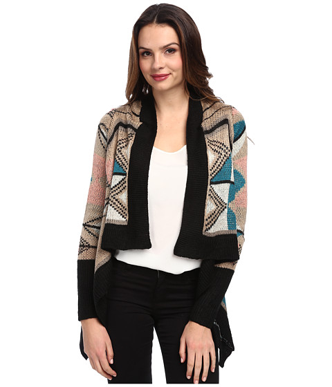 Brigitte Bailey - Printed Long Sleeve Cardigan (Taupe) Women's Sweater
