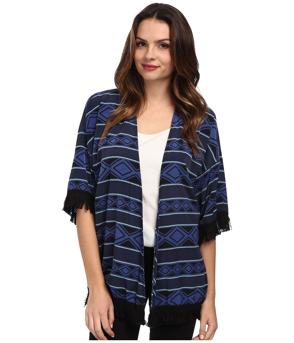 Brigitte Bailey - Fringe Cardigan (Navy) Women's Sweater