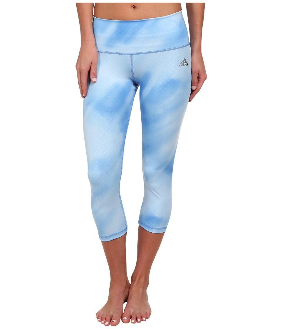 adidas - Performer Mid-Rise Three-Quarter Tight - Sunlight Camo Print (Lucky Blue Print/Matte Silver) Women