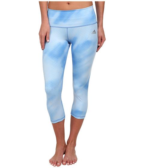 adidas - Performer Mid-Rise Three-Quarter Tight - Sunlight Camo Print (Lucky Blue Print/Matte Silver) Women's Workout