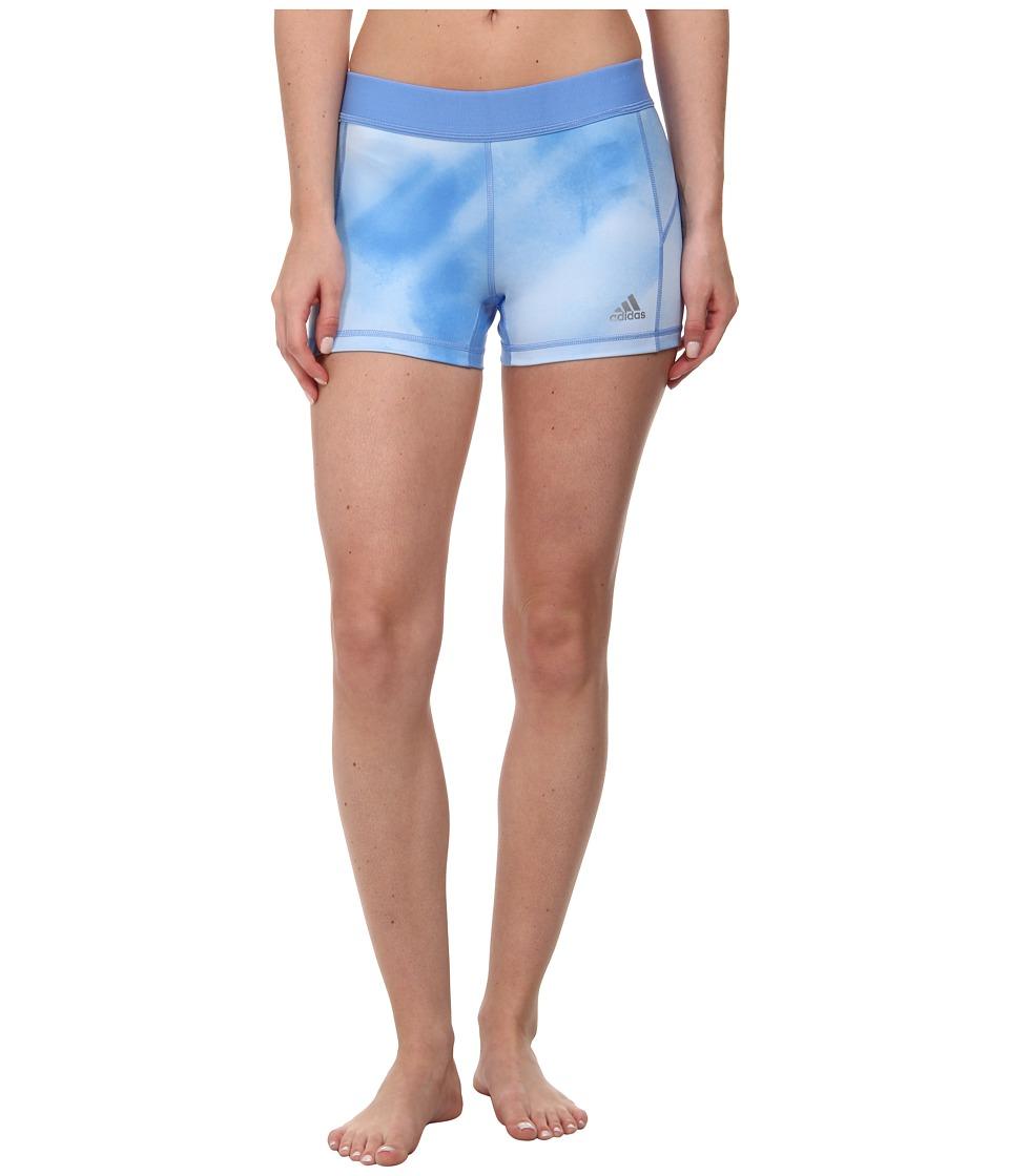 adidas - Techfit 3 Boy Short - Sunlight Camo Print (Lucky Blue Print/Lucky Blue/Matte Silver) Women's Shorts