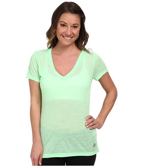adidas - Boyfriend Deep V-Neck Tee (Flash Green) Women's T Shirt